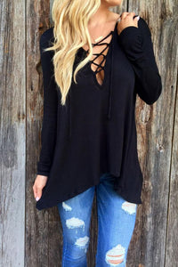 Deep V Neck  Asymmetric Hem Lace Up  Plain T-Shirts