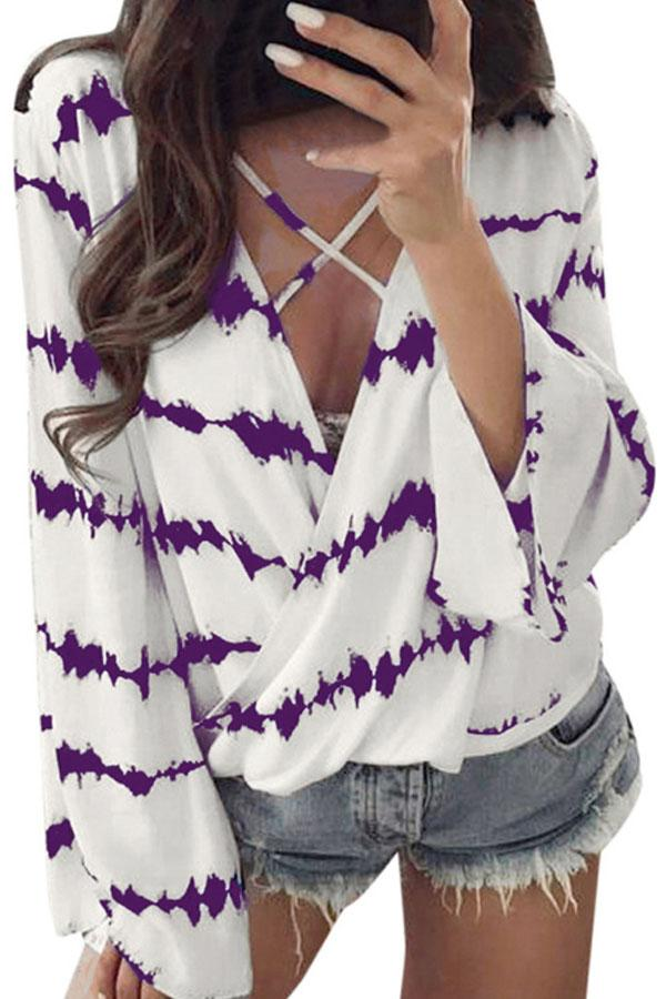 V Neck  Lace Up  Printed  Casual Shirts