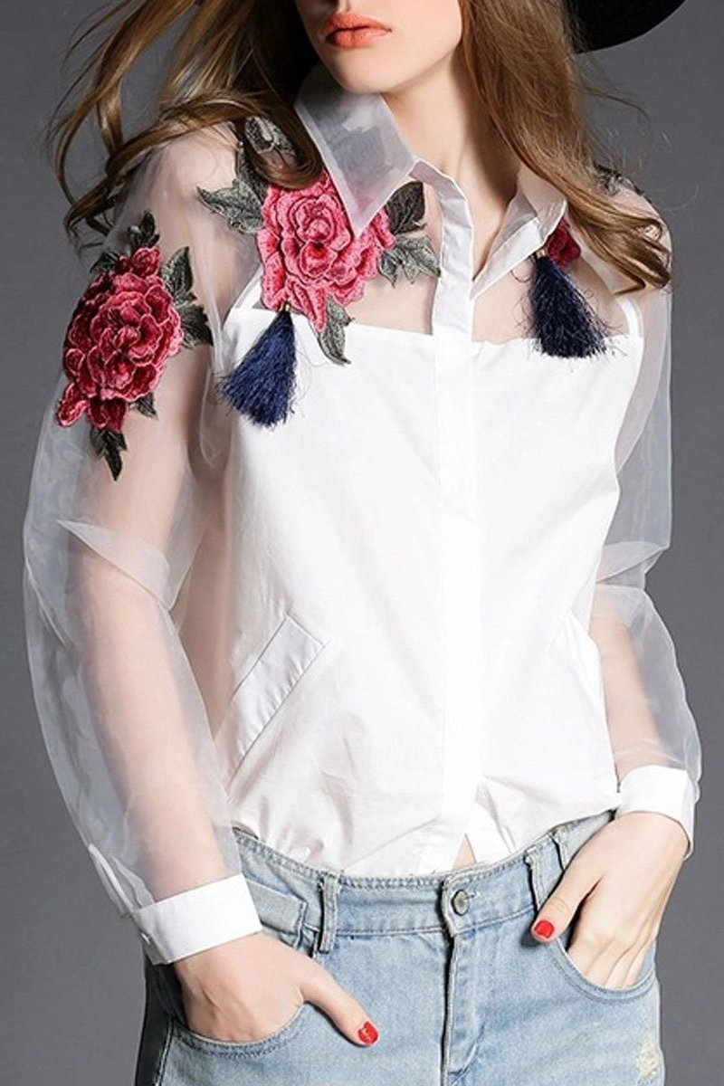 Turn Down Collar  See-Through  Embroidery  Long Sleeve Blouses