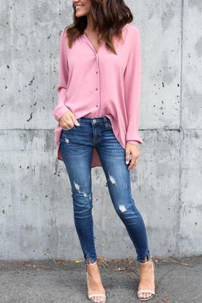 V Neck  Asymmetric Hem Single Breasted  Plain  Blouses