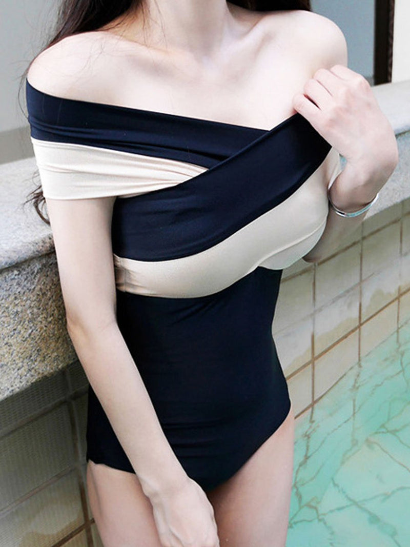 Collarless  Two Way  Color Block One Piece