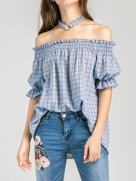 Ladies New Sexy Collar Exposed Shoulder Trumpet Sleeve Plaid Shirt