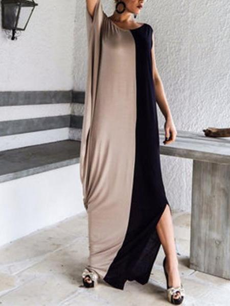 Maxi Round Neck Loose Stitching Fashion Dress