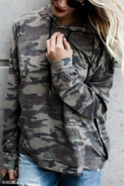 Drawstring Kangaroo Pocket  Camouflage Hoodies