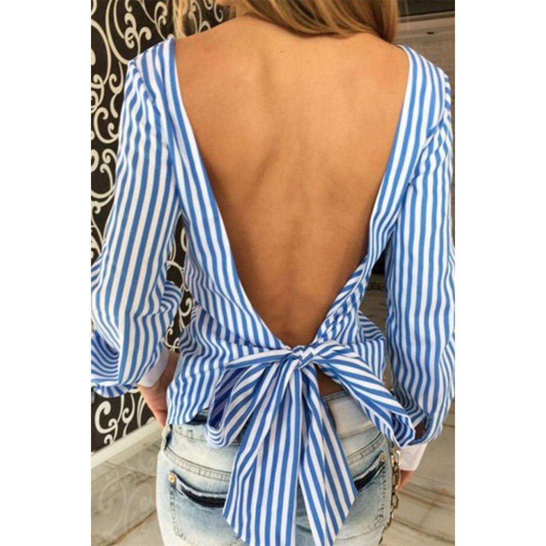 Scoop Neck  Backless Bow  Striped Blouses