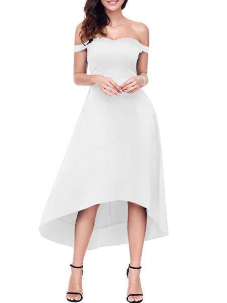 Off Shoulder Plain High-Low Skater Dress