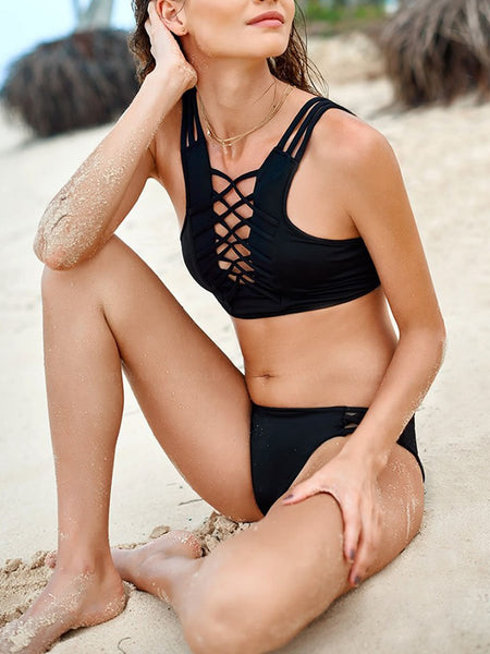 Asymmetric Neck  Plain Bikini