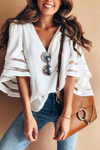V Neck Plain Bell Sleeve Blouses