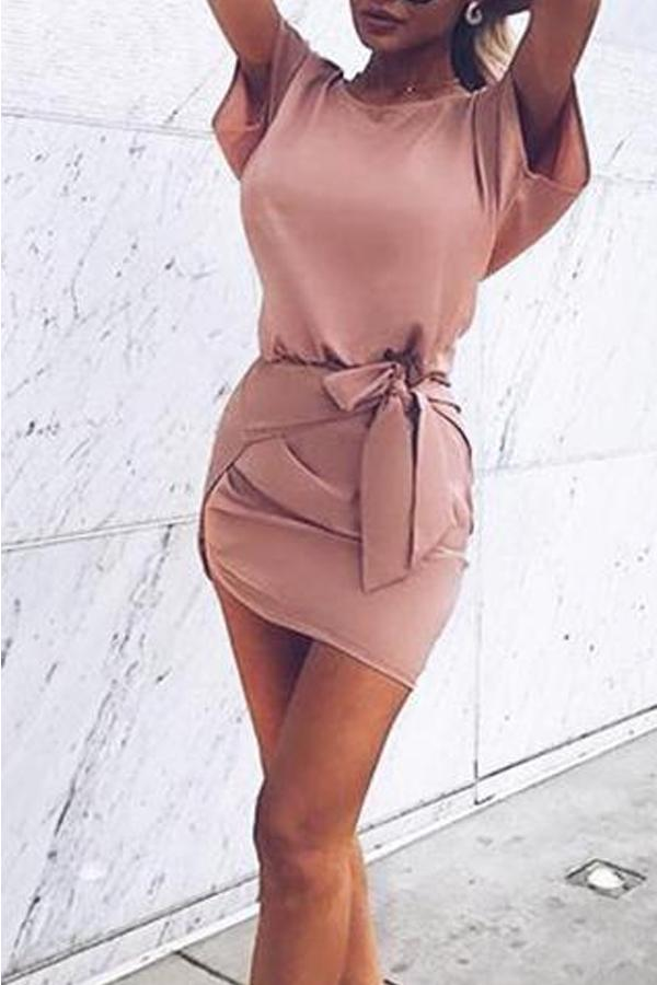 Hem Belt Plain Batwing Extra Short Sleeve Casual Mini Dresses