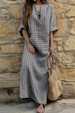 V Neck  Kangaroo Pocket  Striped Maxi Dresses