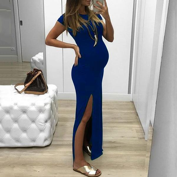 Maternity Solid  Side Slit Full Length Dress