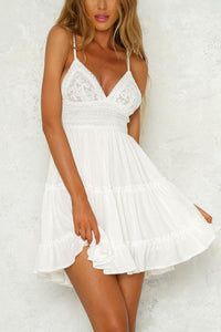 White Sexy Elegant Sleeveless Mini Dress
