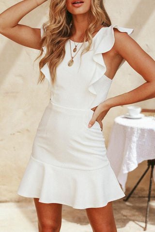 Round Neck  Backless Flounce Sleeveless Bodycon Dresses
