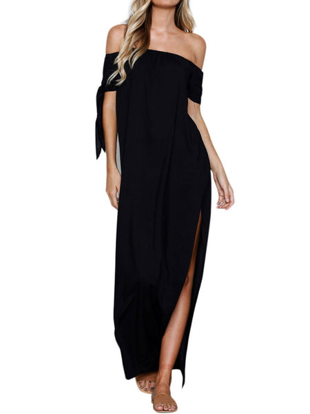 Off Shoulder  Lace-Up Side Slit  Plain Maxi Dress