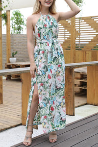 Stylish Bohemia Floral Print Vacation Maxi Dress
