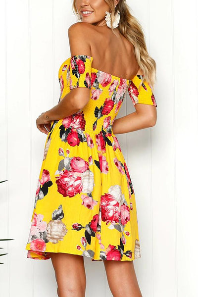 Sexy Yellow Off Shoulder Floral Print Mini Dress