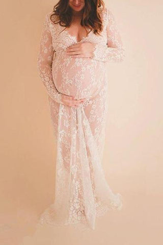 Maternity Solid See-Through Lace Dress