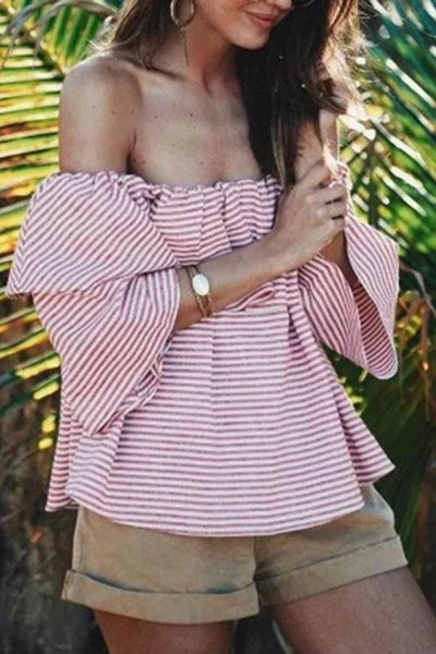 Pink Patchwork Stripe T-Shirts Blouses