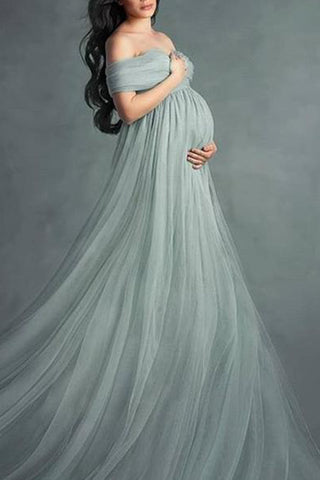 Maternity Off Shoulder Short Sleeve Full Length Dress