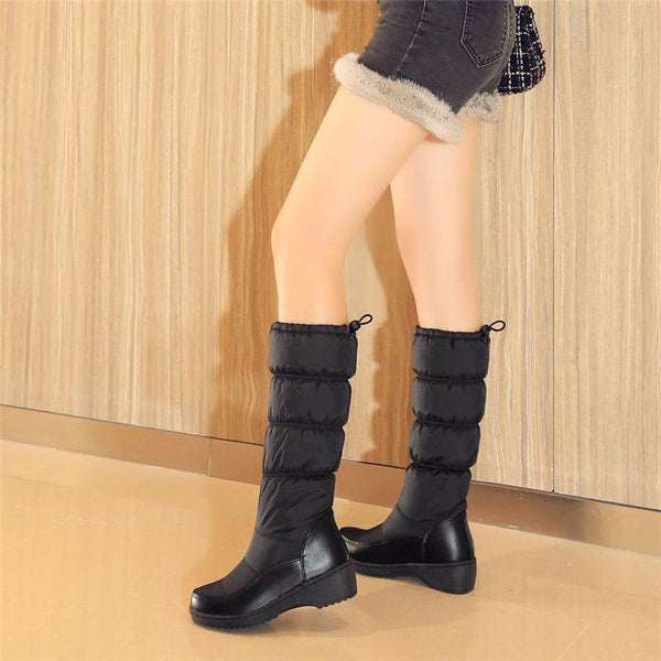 Winter Non-Slip Warm High Tube Thick Bottom Large Size 40-44 Down Female Boots