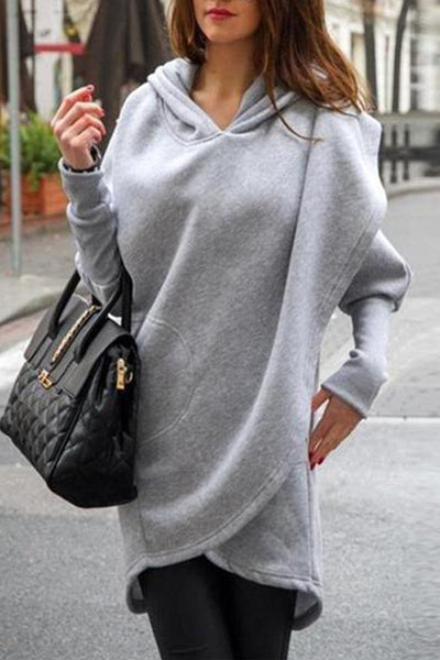 Chic Soft Loose Plain Long Sleeve Pocket Hoodie