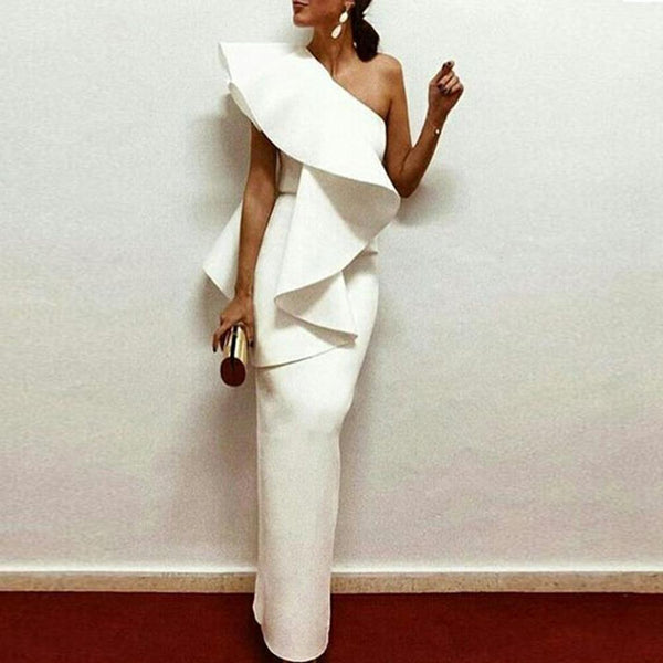 White Chic One-Shouldered Bodycon Dress
