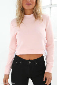 Crew Neck  Asymmetric Hem  Plain  Sweatshirts