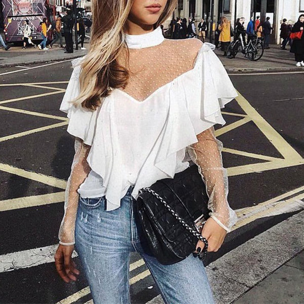 Sexy Perspective Ruffles Long Sleeve Blouse