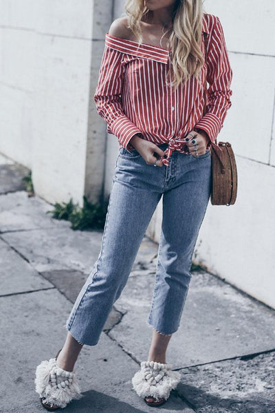 One Shoulder  Single Breasted  Striped  Blouses