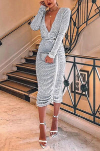 Sexy V Collar Sequin Long Sleeve Bodycon Dresses