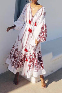 Sexy Floral V Collar Long Sleeve Fringe Vacation Maxi Dress