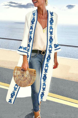 Cotton/Linen Collarless Vintage Printed Long-Sleeve Cardigan