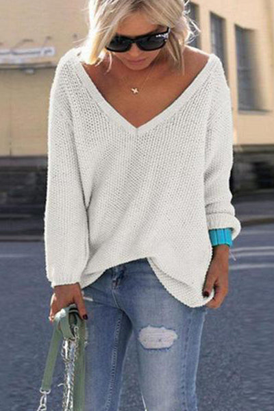 V Neck Loose Fit Sweater