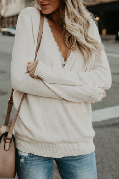 V Neck  Rib Knit Cuffs  Plain Sweater