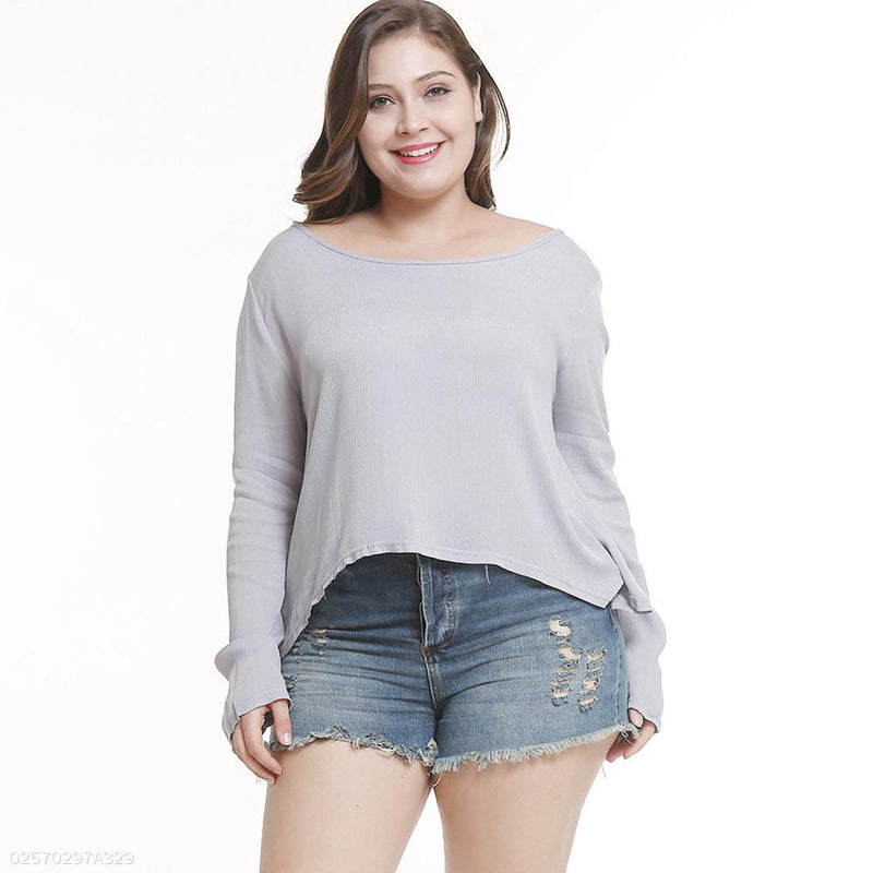 Long Sleeve Round Neck Loose Plus Size Fat Women's T-Shirt