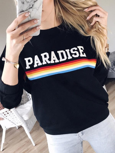 Casual Round Neck Letter Printed Long Sleeve Shirt