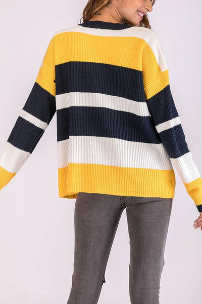 Fashion Long Sleeves Casual Stitching Sweater