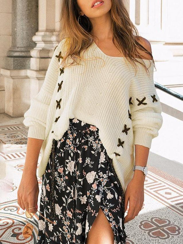 Fashion V Collar Loose Long-Sleeved Sweater Top