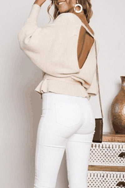 Deep V Neck  Backless  Belt  Plain Sweaters