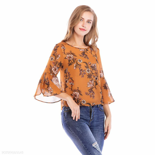 Women Blouse O-Neck Flare Sleeve Back Hollow Out Lace Stitching Backless Cross Flower Printed Blouse