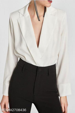 Elegant Loose Plain Deep V Collar Long Sleeve Blouse