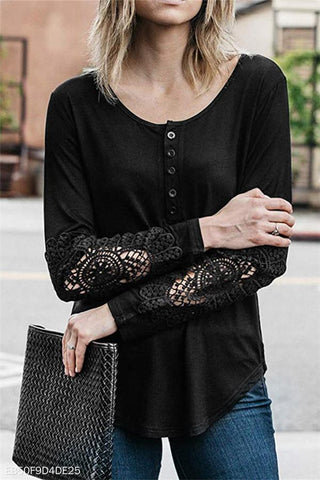 Round Collar Button Lace Long Sleeve T-Shirt