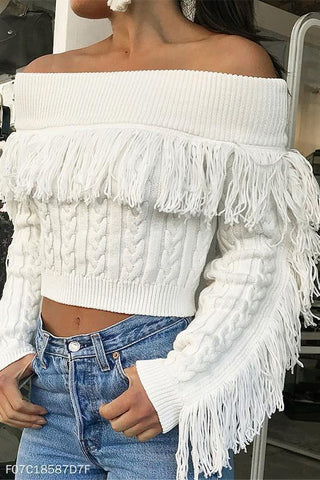Fashion Casual Slim Off Shoulder Fringe Long Sleeve Crop Sweaters