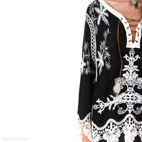 Bohemian Embroidery, Hollowed Out Lace, Laced Shirt.