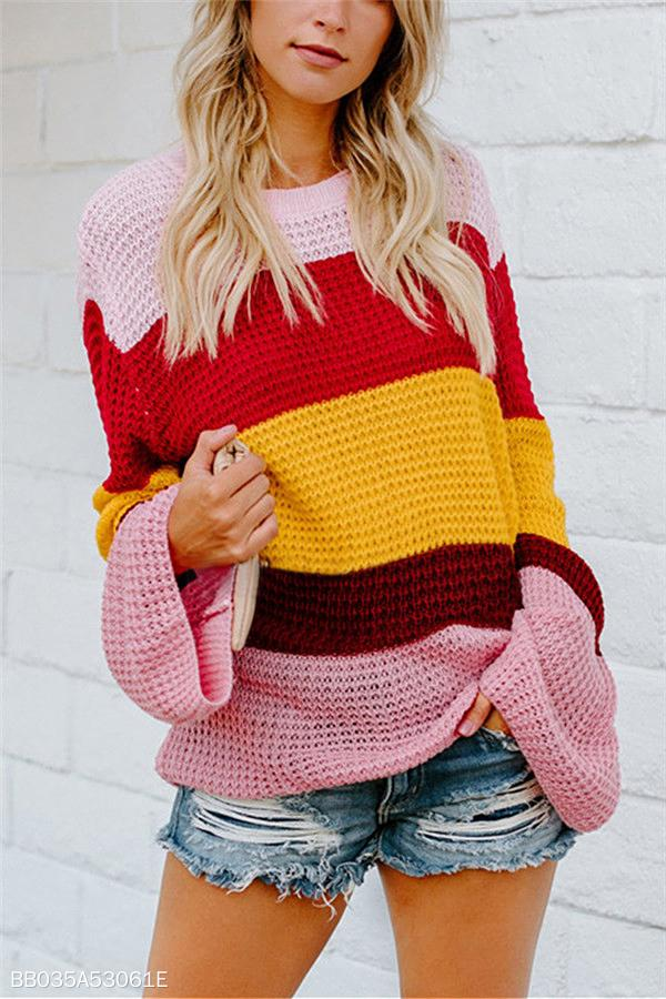 Color Loosely Knitted Trumpet Sleeves Sweaters