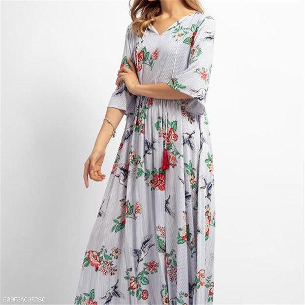 Vacation Fashion Casual Loose Floral Medium Sleeve Maxi Dress