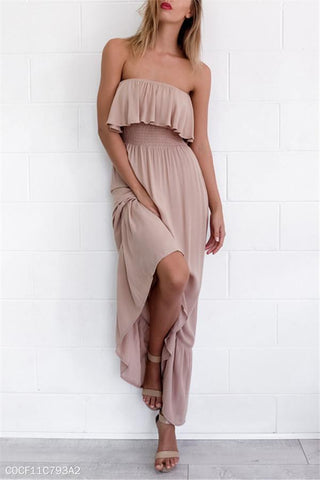Sexy Shoulder Straight Waist Maxi Dress