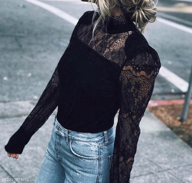 Black Vertical Collar Splice Lace Shirt Long-Sleeved Top