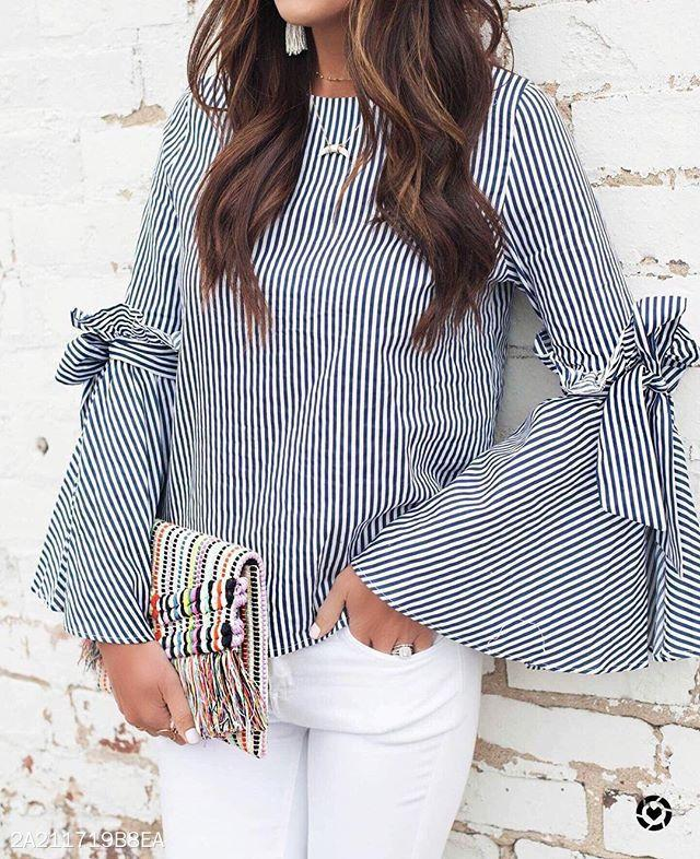 Blue-And-White Striped Shirt With Split Sleeves