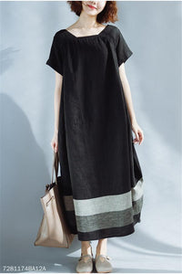 Short-Sleeved Cotton And Hemp Loose Casual Dress